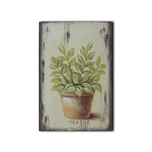 CVHOMEDECO. Bas-reliëf Schilderij Stilleven Handgeschilderd op Houten Frame Bloempot met Menthe Foto's voor Muur, 8 x 12 Inch