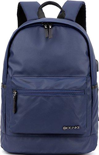 "Backpack w/USB Charging Port Fits UNDER 15"" Laptop & Notebook   Lightweight Travel Backpacks for Women Men & College School Teens   Waterproof Rucksack Bag   Daypack For Girls Boys(Navy)"
