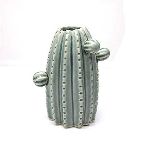Tamia-Home Deko Vase Kaktus Blumenvase Tischvase handgefertigt Hochglanz grün Design Keramik