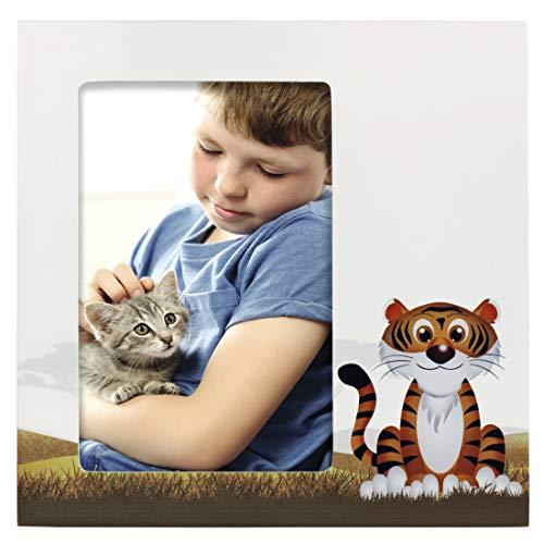 Hama Baby und Kinder Bilderrahmen Tiger Liam für Foto-Größe 10 x 15 cm (Fotorahmen aus Holz (MDF) mit Tiger-Motiv, zum Aufstellen und Aufhängen, Echtglas) weiß