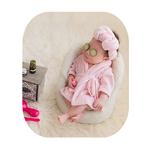 Newborn Monthly Baby Photo Props Bathrobes with Towel Sets for Boys Girls Photography (Pink)