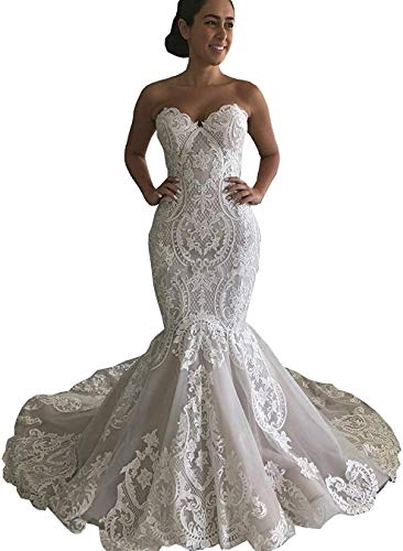 Dreammaking Spitze Herzausschnitt Trompete Meerjungfrau Ballkleider Hochzeitskleider für Damen Brautkleider Prinzessin mit Schleppe Standesamt Lang