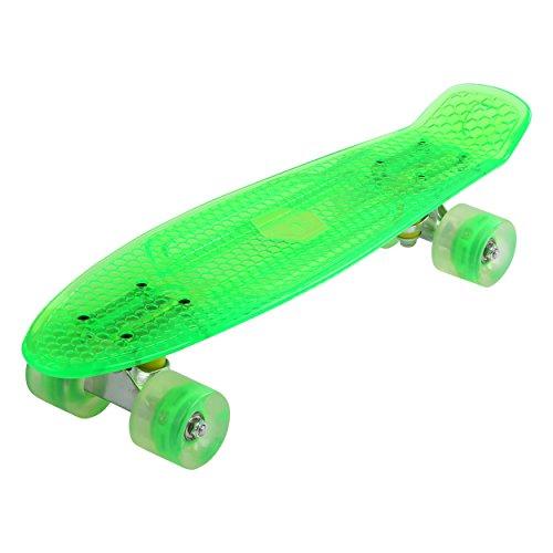 Maronad transparent Retro Skateboard LED klarer leuchtrollen ABEC 7 (Grün)