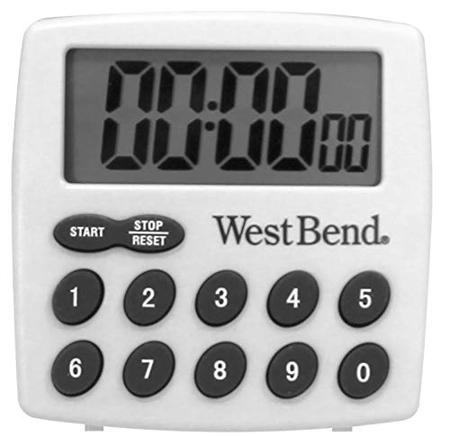 West Bend Easy to Read Digital Magnetic Kitchen Timer Features Large Display and Electronic Alarm, White