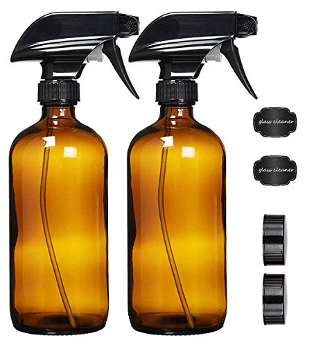 N /A Botella de Aerosol de Vidrio de 2 Piezas 16 oz 500 ml con Etiquetas, contenedor de Aerosol para perfumes de aceites Esenciales