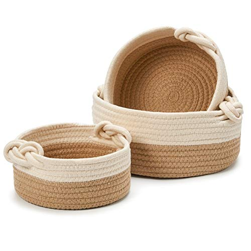 EZOWare Set de 3 Cestas Decorativas de Cuerda de Algodón Natural, Cesta Organizador de Almacenaje Ideal para Pequeños Cosas en el Hogar - Marrón / Beige