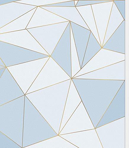 Lámina para ventana, no adhesiva, mate, protección de datos, diseño geométrico, autoadhesiva, lámina de cristal de vinilo, anti-UV, decorativa, para el hogar u oficina (azul, 44,5 x 200 cm)