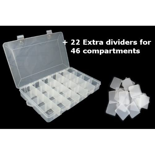 LARGE 46 COMPARTMENTS PLASTIC STORAGE BOX 350x220x48mm by Lunar Box