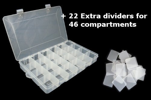 LARGE 46 COMPARTMENTS PLASTIC STORAGE BOX 350x220x48mm by Lunar Box