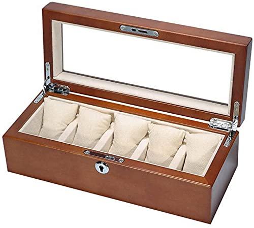 Reloj, caja de almacenamiento, caja de visualización de almacenamiento, bloqueo de madera / metal 5 reloj de almacenamiento y almohada de almacenamiento extraíble, beige