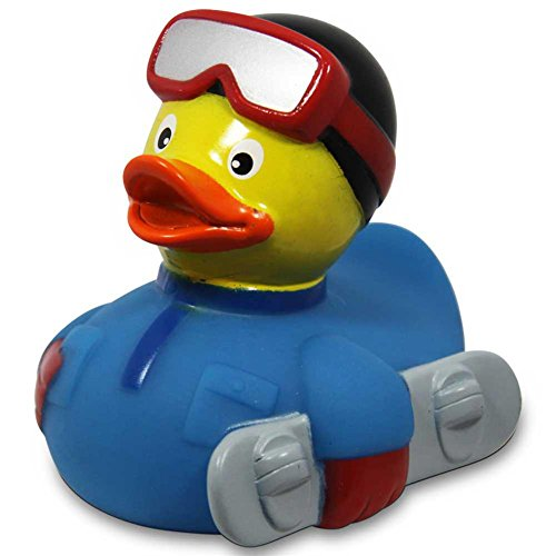 Duckshop I Badeente I Quietscheente I Snowboard Ente I L: 7,5 cm I inkl. Badeenten-Schlüsselanhänger im Set