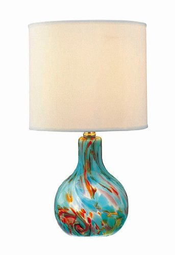 Lite Source LS-20073AQUA Table Lamp with Off White Fabric Shades, Steel Finish