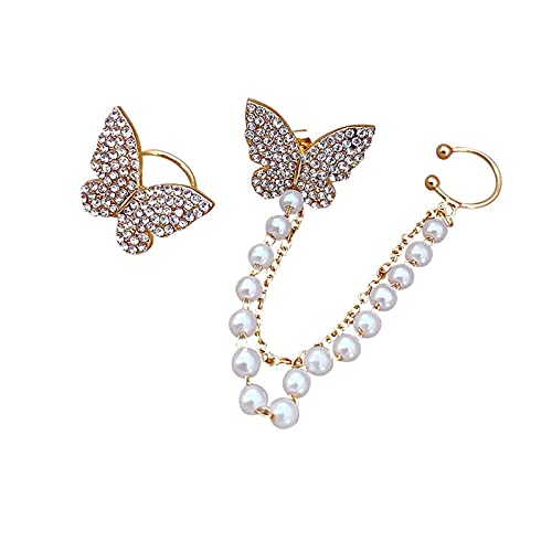 QIN Pendientes Joyas de Moda Rhinestone asimétrico Mariposa Simulación Pendientes de Perla Pendientes llamativos para Mujeres