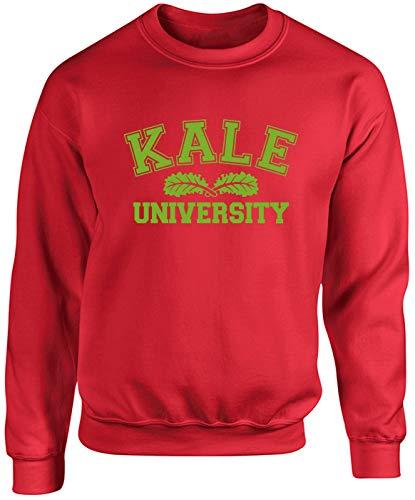 Hippowarehouse Kale University Unisex Jumper Sweatshirt Pullover (Specific Size Guide in Description) Red