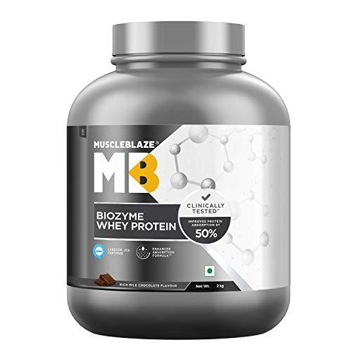 MuscleBlaze Biozyme Whey Protein (Rich Milk Chocolate, 2 kg / 4.4 lb, 60 Servings)
