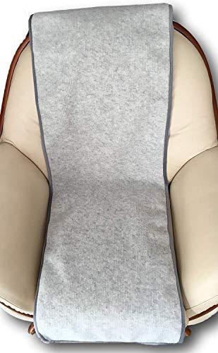 Alpenwolle Sesselschoner in Wellenoptik Silber 50x200 cm, Überwurf, 100% Merino Wolle