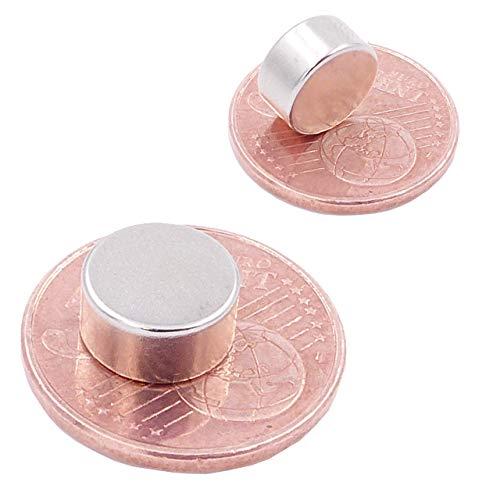Brudazon | 10 Mini Scheiben-Magnete 10x5mm | N52 stärkste Stufe - Neodym-Magnete ultrastark | Power-Magnet für Modellbau, Foto, Whiteboard, Pinnwand, Kühlschrank, Basteln | Magnetscheibe extra stark