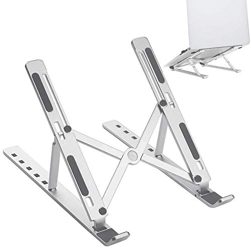 Adjustable Portable Aluminum Laptop Holder - 6 Angles Laptop Stand, Foldable Laptop Riser Compatible with Most 10-15.6 Laptops Like MacBook Air Pro, Dell XPS, HP