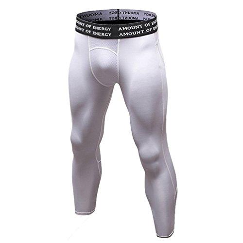 Byqny Hombres Compresión Leggings Polainas Mallas Apretadas Deportes Pantalones Largos de Correr con Función de Secado Rápido