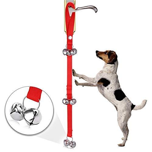 HAPPY LEMON PetSupplies Hondspecifieke Duurzame Mode Huisdier Hond Training Bell Nylon Touw Tractie Touw Deurbel Leash Hond Anti-verloren Bell met 7 Klokken Veilig en comfortabel, Rood