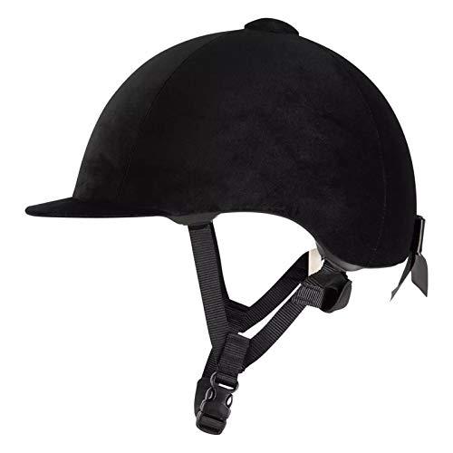horseback riding helmets ZYJY Velvet Equestrian Hat Helmet - Black Comfy Horse Riding Hats Breathable Horse Riding Helmets for Women and Girls