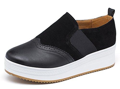 UNN Women Slip On Platform Suede Penny Loafers High Heel Wedge Moccasins Walking Sneakers Black 39