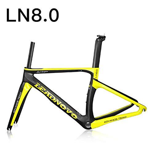 WANGYONGQI Carbon rennrad Rahmen scheibenbremsen Di2 mechanische 3 Karat 1 Karat Carbon rennrad rennrad frameset Taiwan Bike,Ln8.0yellow