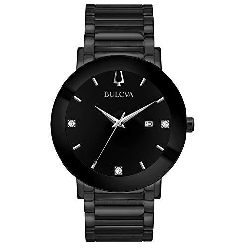 Bulova Modern Quartz Mens Watch, Stainless Steel Diamond , Black (Model: 98D144)