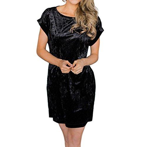 MuSheng(TM) Mini-Robe en Velours à Manches Courtes pour Femmes (Noir, XL)