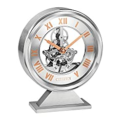 Citizen CC1027 Decorative Desk Clock, Silver-Tone