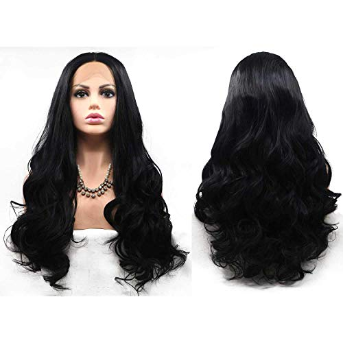 CHUTD Beautiful Black Curl Big Wavy Style Cosplay Pruik, Synthetische Hittebestendige Midden Deel Pruik, Kant Voor pruik haar
