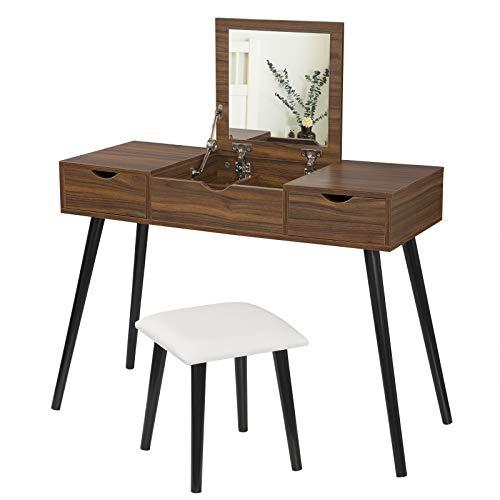 Laneetal Tavolo da Trucco con Specchio e Sgabello Toeletta Cosmetici Multiuso Scrittoio Consolle Camera da Letto 0590005