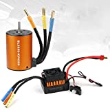 Hootracker Crazepony-UK 3650 4300KV Brushless Motor with 60A ESC Electronic Speed Controller Waterproof Combo Set Shaft 3.175MM for 1/10 RC Car Flat