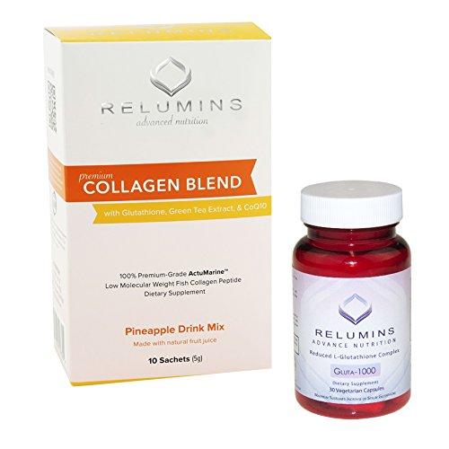 NEW! Relumins Premium Collagen 10 Pack and Gluta-1000 30 Capsules 3 COLLAGEN FLAVORS!! (Pineapple)