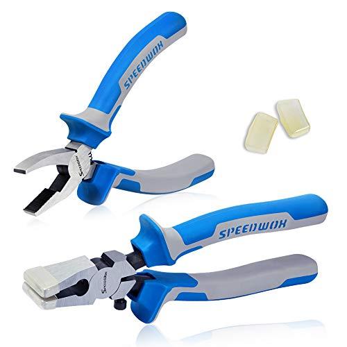 Juego de 2 alicates para romper cristales y alicates de corte de martillo, con 2 pares de puntas de goma, alicates profesionales para vidrio., azul