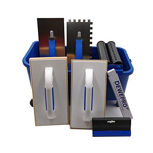 DEWEPRO® 10-teiliges Fliesenleger Waschset L - 16l Waschbox - Schwammbrett - Fugengummi - Zahnkelle 10x10mm - Fliesenwaschset