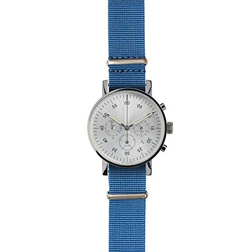 v03C Cronógrafo by Void Watches (Style: Pulido Caja & Esfera Plateada/Azul Cinta de Nailon)