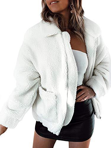 ECOWISH Damen Mantel Revers Faux Für Lose Langarm Outwear Tasche Reißverschluss Winterjacke Mode Kurz Coat 0974Weiß M