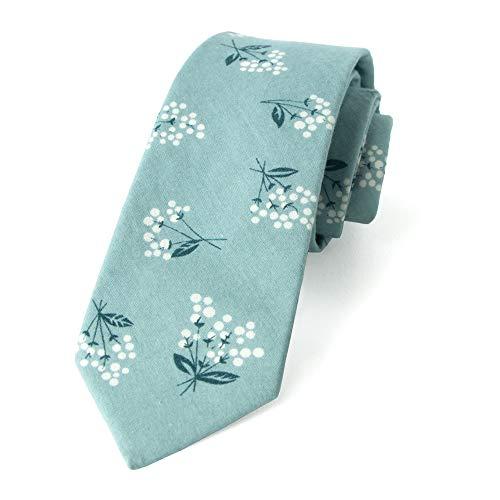 Spring Notion Men's Cotton Printed Floral Skinny Tie - Blue/White
