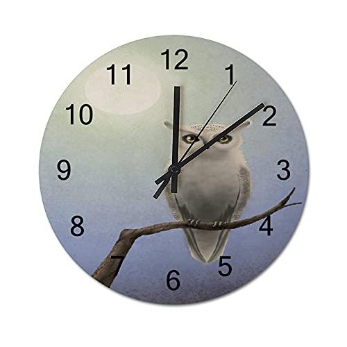 Reloj de Pared ,Búho Real Búho Cornudo Tigre Pájaro, Relojes de Pared Digitales de Madera Que no Hacen tictac, Funcionan con Pilas, decoración Sala de Estar, Dormitorio, Aula, Oficina (12 Pulgadas).