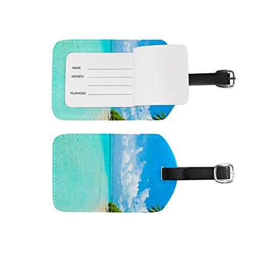 Luggage Tags Address Name Holder,2Pcs Portable Identifier Label Set Checked Card Bag Decoration Travel Gear Gifts,Beach Sea and Tree for Suitcases Bags