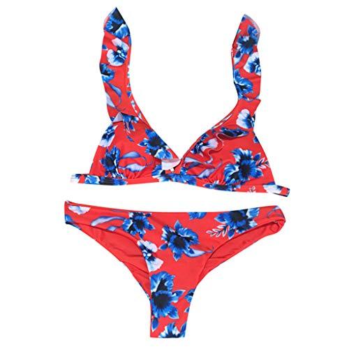 LSCOFFEE  Bikini con estampado floral para mujer, traje de baño de dos piezas, traje de baño de playa para vacaciones, verano, vacaciones, piscina