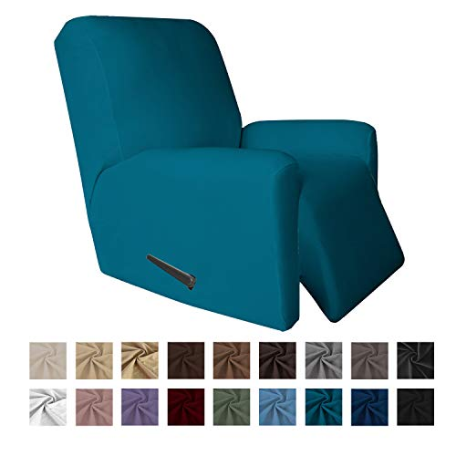 Easy-Going 4 Pieces Microfiber Stretch Recliner Slipcover – Spandex Soft Fitted Sofa Couch Cover, Washable Furniture Protector with Elastic Bottom for Kids,Pet (Recliner, Peacock Blue)