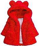 Child Kids Girls Winter Warm Coats Ear Hooded Faux Fur Fleece Jacket (Red, 4-5T)