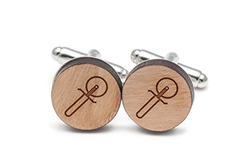 Wooden Accessories Company Pizza Cutter Cufflinks, Wood Cufflinks Hand Made in The USA