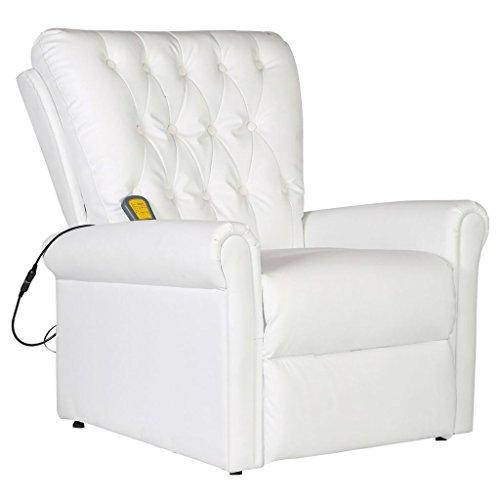 Festnight- Poltrone Relax, Poltrona di Massaggio elettrica reclinabile in Ecopelle Bianca