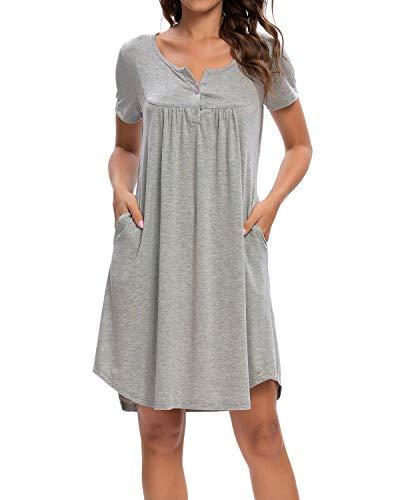 MINTLIMIT Nachthemd Damen Kurze Ärmel Schlafkleid Einteiliger Schlafanzug Nachtkleid Retro-Stil Kleid Sleepshirt (Hellgrau,Größe M)