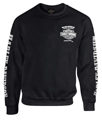 Harley-Davidson Herren Lightning Crest Fleece Pullover Sweatshirt Schwarz - Schwarz - X-Large