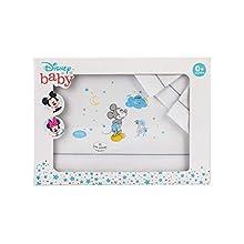 Interbaby MK003-18 - Sábanas Cuna Disney Mickey, Blanco y Gris