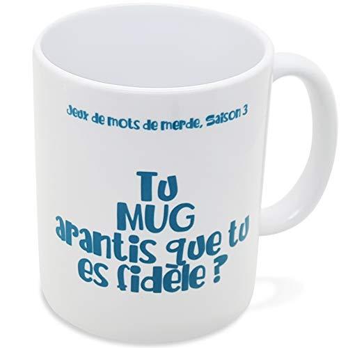 Taza con texto en inglés «Tu es Fidèle» – Taza con mensaje divertido – Idea de regalo original para pareja enamorada – hermana – para cumpleaños o Navidad – Dino Mugs le Sourire desde el despertador.